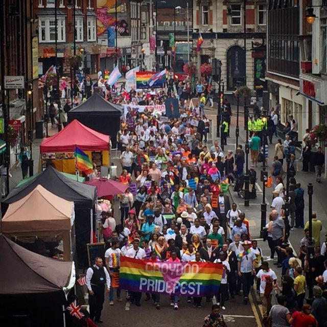 Croydon Pride 2016 - 500 people march into Surrey Street