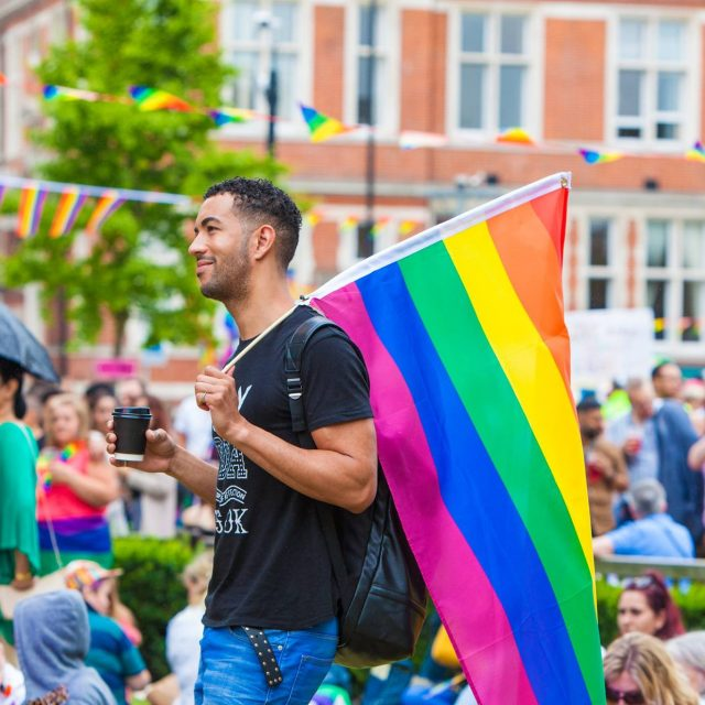 Croydon Pride 2017 - black gay man and rainbow flag