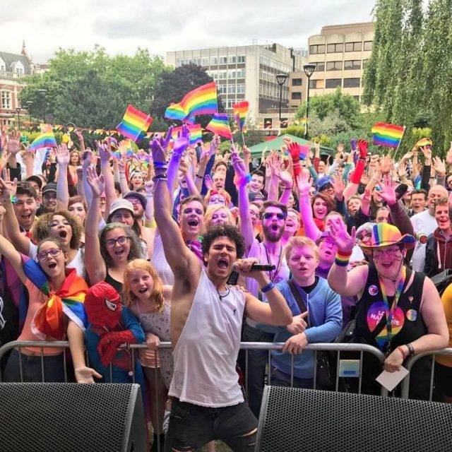 Croydon Pride 2017 - Chrus Haul and crowd from stage